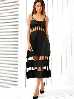 Strappy Cut Out A-Line Dress - Black 2xl