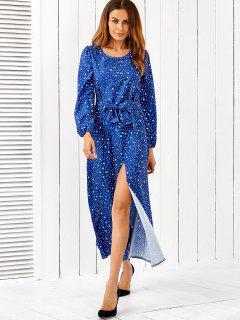 Robe Longue Maxi à Manches Longues - Bleu S