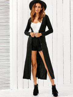 Long Fitting Buttoned Cardigan - Black S