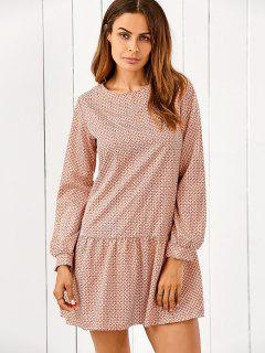 Long Sleeve Printed Ruffle Hem Dress - Xl