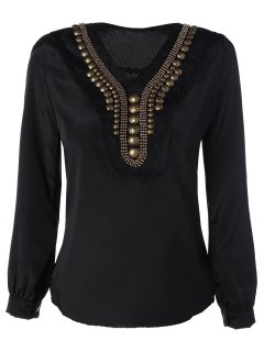 Embellished Neckline Long Sleeve Top - Black