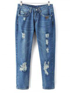 Skinny Ripped Narrow Feet Jeans - Denim Blue S