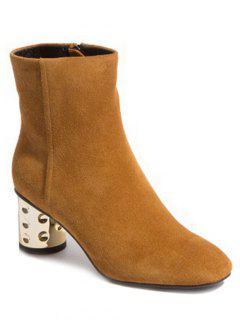 Square Toe Metallic Chunky Heel Boots - Light Brown 38