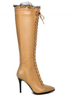 Lace-Up Pointed Toe Stiletto Heel Boots - Apricot 38