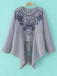 Asymmetric Embroidered Striped Blouse - Blue And White L