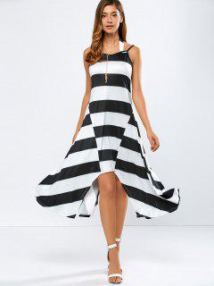 Striped Sleeveless Hankerchief Dress - White And Black L