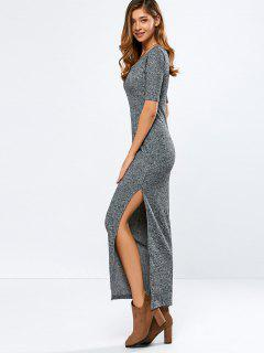 Ribbed Long Dress - Gray L