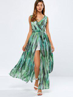 Printed Slit Wrap Dress - Green Xs