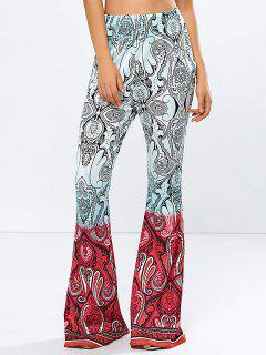 High Rise Printed Flare Pants - Rose Red S