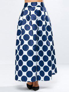 A Line Polka Dot Maxi Skirt - Blue S