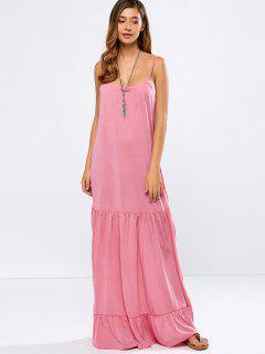 A Line Maxi Cami Dress - Pink S