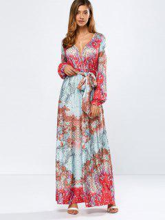 Maxi Robe à Décolleté Plongeant Imprimée Fleurs - Floral L