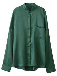 Stand Neck Satin Shirt - Green M
