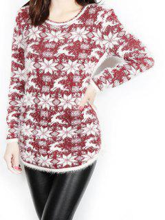 Jacquard Christmas Sweater - Wine Red