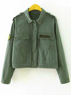 Letter Patchwork Utility Jacket - Army Green S