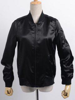 Satin Bomber Zippered Jacket - Black L