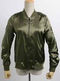 Satin Bomber Zippered Jacket - Army Green M