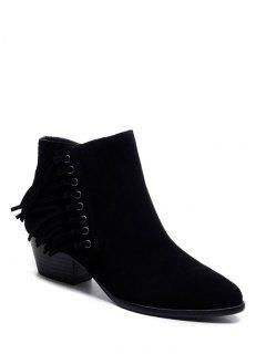Chunky Heel Eyelet Fringe Ankle Boots - Black 38