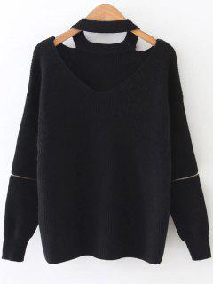 Zipper Sleeve Cut Out Choker Sweater - Black