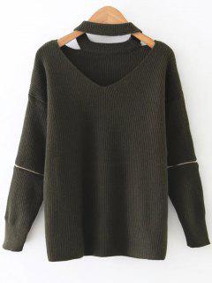 Zipper Sleeve Cut Out Choker Sweater - Reseda Green