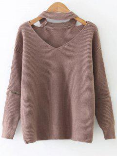 Zipper Sleeve Cut Out Choker Sweater - Khaki