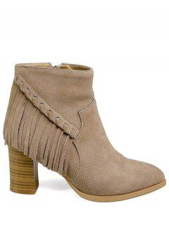 Pointed Toe Chunky Heel Fringe Boots - Apricot 38