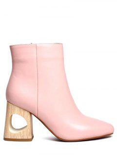 Square Toe Wooden Heel Leather Boots - Pink 38