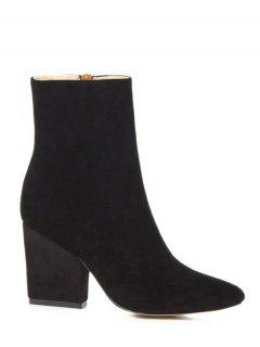 Side Zip Pointed Toe Chunky Heel Short Boots - Black 38