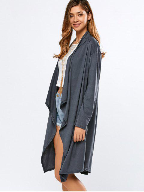 Cardigan à manches longues  à découpes de dos - Gris Foncé XL Mobile