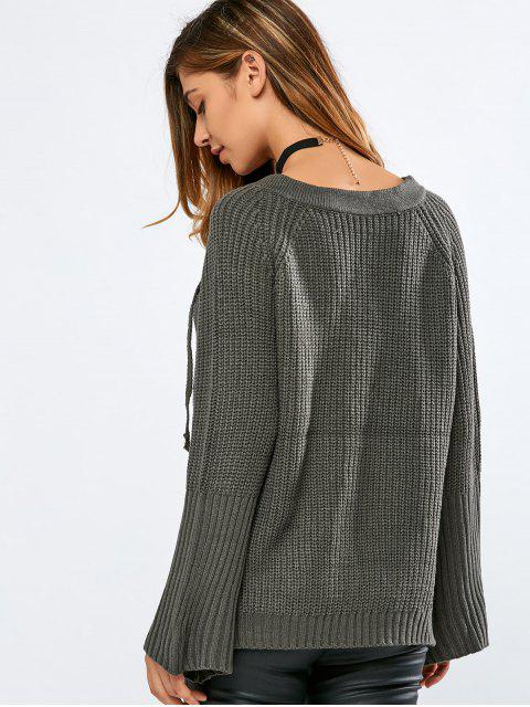 chic High Low V Neck Lace Up Sweater - BLACKISH GREEN ONE SIZE Mobile