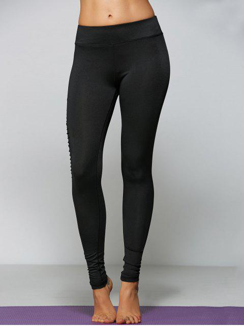 outfit Ripped Tight Fit Sports Leggings - BLACK L Mobile
