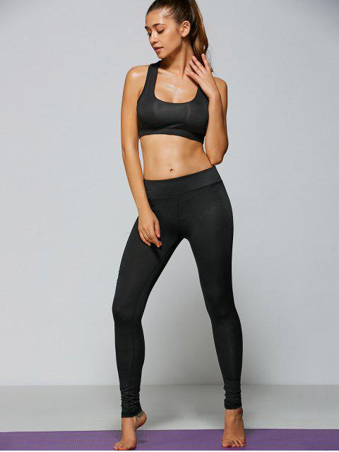outfits Ripped Tight Fit Sports Leggings - BLACK M Mobile