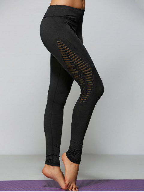leggings de yoga très mince et évidés - Noir S Mobile