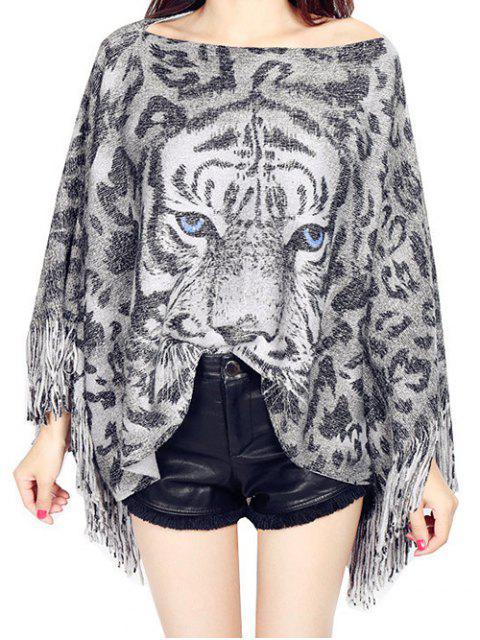 fancy Fringed Jacquard Knitwear - GRAY ONE SIZE Mobile