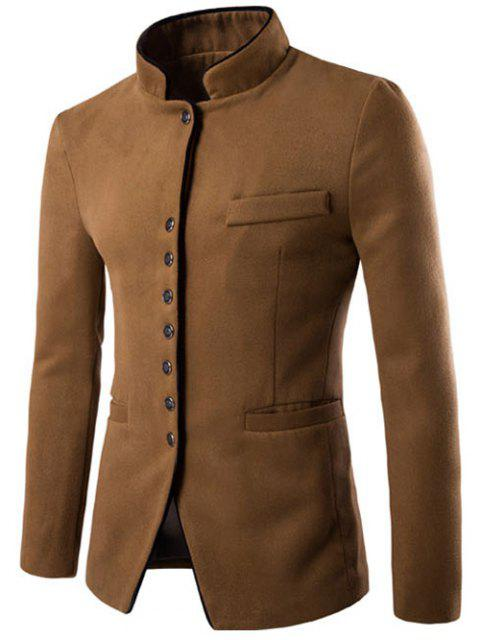 Slim Fit Stehkragen Wollmischung Blazer - Kamelhaarfarbe  M Mobile
