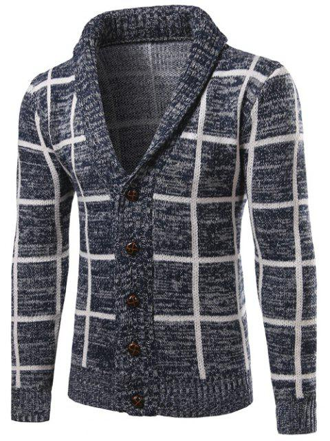 latest Shawl Collar Button Up Checked Cardigan - CADETBLUE M Mobile
