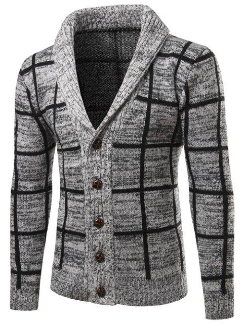 trendy Shawl Collar Button Up Checked Cardigan - GRAY 2XL Mobile
