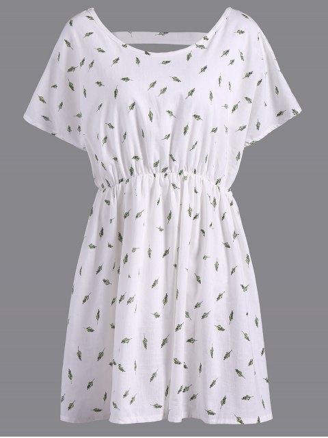 Rafraîchissant V-Neck Feuille manches courtes Print Plus Size Women Blouse  's - Blanc 3XL Mobile