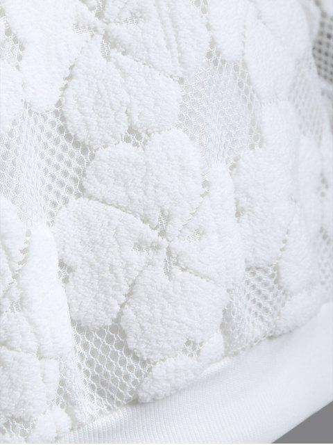 Floquée Mesh Sweatshirt - Blanc M Mobile