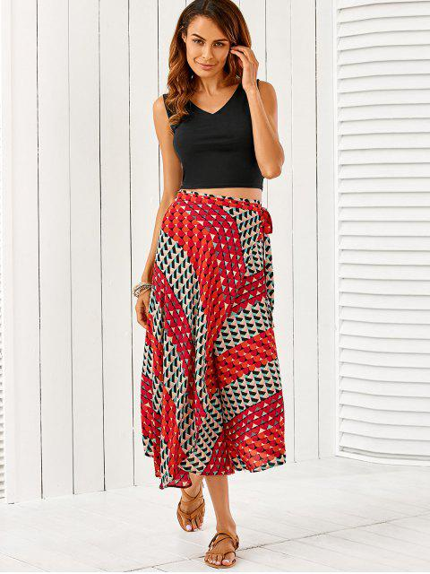 women V Neck Crop Top With High Slit Geometric Skirt - COLORMIX ONE SIZE Mobile