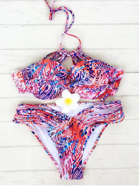 fashion Colorful Print Halter Strappy Bikini - COLORMIX XL Mobile