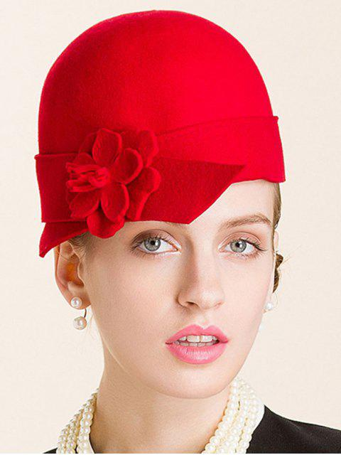 best Flower Wool Fedora - RED  Mobile