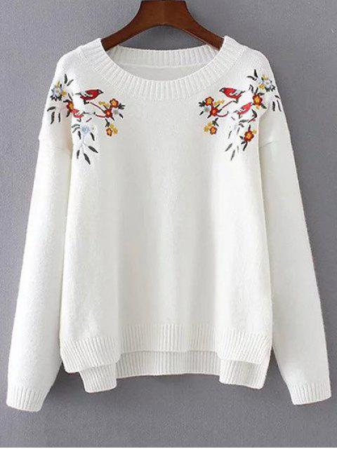 online Embroidered High-Low Sweater - WHITE ONE SIZE Mobile
