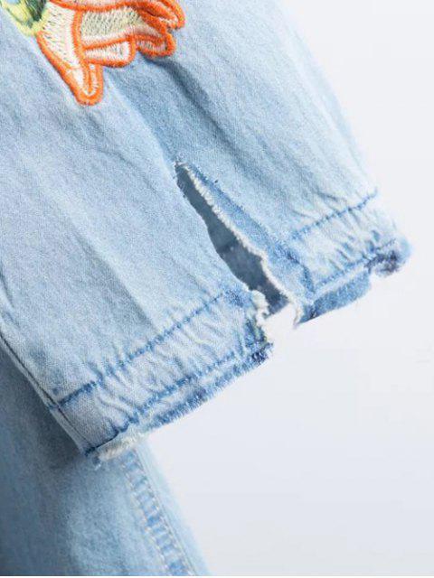 Chemise en denim brodée déchirée - Bleu clair M Mobile