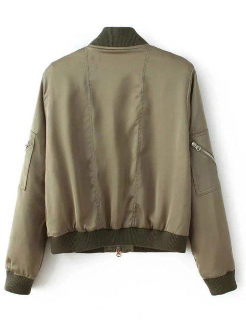 new Multiple Zippers Bomber Jacket - ARMY GREEN S Mobile