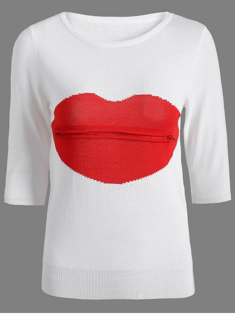 latest Lips Patch Jewel Neck Knitwear - WHITE ONE SIZE Mobile