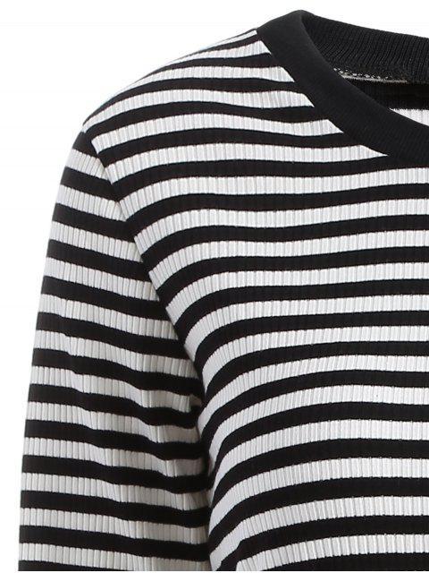 sale Striped Mesh Spliced Faux Twinset Sweater Dress - BLACK M Mobile