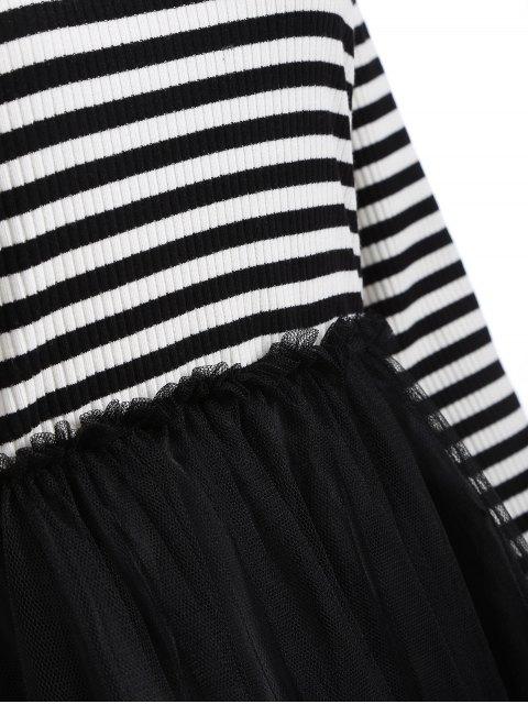 Robe en tricot rayé en maille style faux twinset - Noir 2XL Mobile