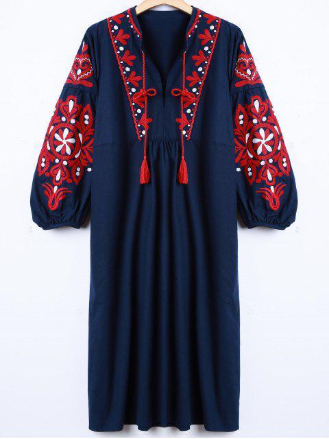 Retro gestickte Laterne-Hülsen-Kleid - Cadetblue L Mobile