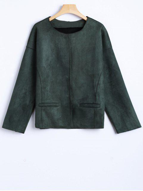 shop Wool Blend Cropped Jacket - ARMY GREEN M Mobile